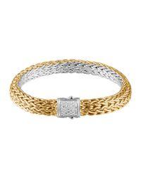 John Hardy | Metallic Classic Chain Gold & Silver Diamond Small Reversible Bracelet | Lyst