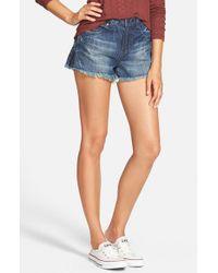 Volcom - Blue Distressed High Waist Denim Cutoff Shorts - Lyst