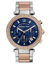 MICHAEL Michael Kors | Blue Michael Kors 'parker' Chronograph Bracelet Watch | Lyst