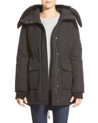 DKNY | Black 'expedition' Faux Fur Trim Parka | Lyst
