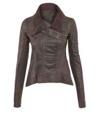 Rick Owens - Gray Charcoal Naska Tail Leather Biker Jacket - Lyst