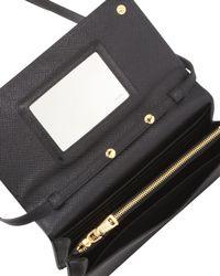 Prada - Black Saffiano Wallet Crossbody - Lyst