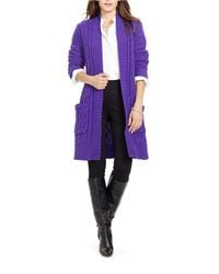 Lauren by Ralph Lauren | Purple Cable-knit Open-front Cardigan | Lyst