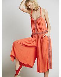 Free People - Orange Womens Ares Sleeveless Jumpsuit - Lyst
