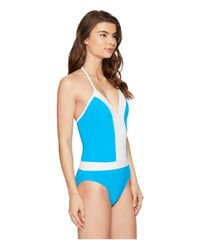 Bleu Rod Beattie - Blue Summer Solids Plunge Halter Mio - Lyst