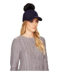 Ugg - Blue Fabric Baseball Hat With Fur Pom - Lyst