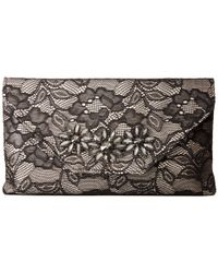 Jessica Mcclintock - Black Riley Lace Envelope Clutch With Brooch - Lyst