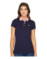 U.S. POLO ASSN. - Blue Woven Trimmed Solid Stretch Pique Polo Shirt - Lyst
