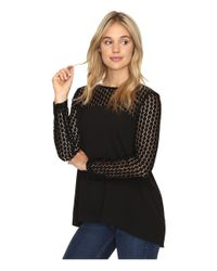 Kensie | Black Smooth Stretch Crepe Top With Lace Detail Ksnk4240 | Lyst