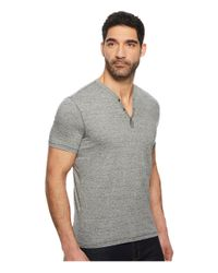 John Varvatos - Gray Short Sleeve Henley With Pick Stitch Detail K3593u1b for Men - Lyst