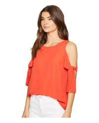 ac16ce08f6484 Lyst - 1.STATE Cold Shoulder Blouse W  Sleeve Ties in Red