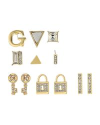 Guess - Metallic 9 Set Mixed Earrings - Studs, Logo, Lock, Key - Lyst