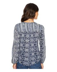 Lucky Brand - Blue Vintage Mixed Print Top - Lyst