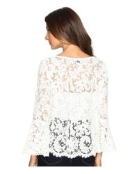 Karen Kane - White Lace Bell Sleeve Top - Lyst