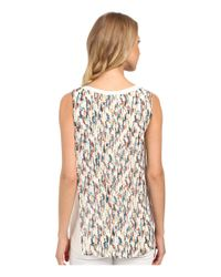 Ellen Tracy - Multicolor Printed Georgette Overlay Knit Tank Top - Lyst