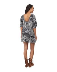 Free People - Blue Rayon Gauze Love Birds Mini Dress - Lyst