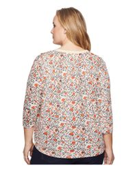 Lucky Brand - Multicolor Plus Size Long Sleeve Floral Tie Top - Lyst