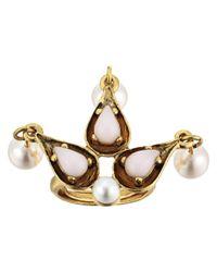 Oscar de la Renta - Multicolor Cabochon Pearl Stone And Pearl Ring - Lyst
