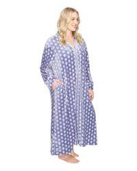 Carole Hochman - Blue Plus Size Velour Zip Robe - Lyst