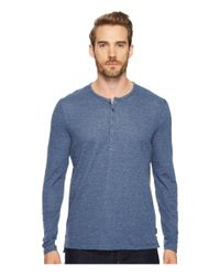 John Varvatos - Blue Long Sleeve Henley W/ Coverstitch Detail K3459t4b for Men - Lyst