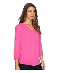 NYDJ - Pink Solid Blouse W/ Pleated Back - Lyst