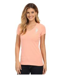 U.S. POLO ASSN. - Multicolor Lace Trimmed V-neck Short Sleeve T-shirt - Lyst