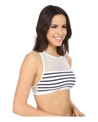 Vince Camuto | Blue Shore Side Mesh Racerback Crop Top W/ Removable Soft Cups | Lyst