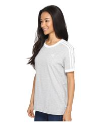 Adidas Originals - Gray 3-stripes Tee - Lyst