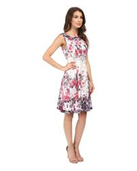 Adrianna Papell - Multicolor Floral Print Bateau Neck Fit And Flare Dress - Lyst