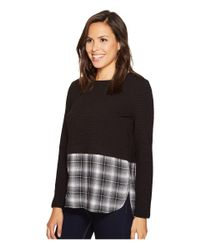 Romeo and Juliet Couture - Black Knit Shirt Combo Top - Lyst