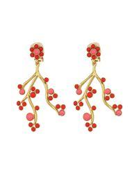 Oscar de la Renta - Multicolor Cabochon And Crystal Vine C Earrings - Lyst