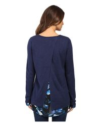 NYDJ - Blue Key Item Mixed Media Sweater - Lyst
