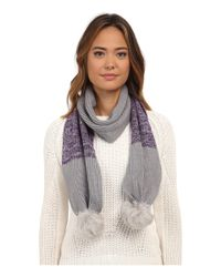 Ugg - Gray Classic Marled Scarf W/ Sequins And Fur Pom - Lyst