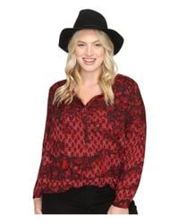 Lucky Brand - Red Plus Size Floral Peasant Blouse - Lyst