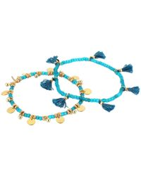 Shashi - Blue Set Of 2 Tassel And Disc Bracelets - Lyst