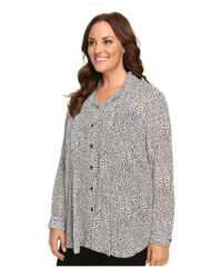 MICHAEL Michael Kors - Gray Plus Size Graphic Scale Button Down Top - Lyst