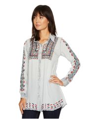Scully - Blue Deanna Embroidered Tunic - Lyst