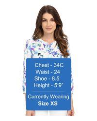 NYDJ | Blue Petite 3/4 Sleeve Pleatback Henley Blouse | Lyst