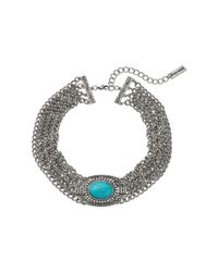 Steve Madden - Metallic Oval Turquoise Stone W/ Four Row Chain Choker Necklace - Lyst