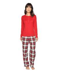 Lauren by Ralph Lauren - Red Folded Henley Top With Pants Pj - Lyst