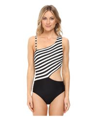 MICHAEL Michael Kors - Black Stable Stripe One Shoulder Cut Out One-piece - Lyst
