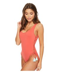 Vince Camuto - Red Riviera Solids Lace-up U-neck One-piece Swimsuit W/ Removable Soft Cups - Lyst