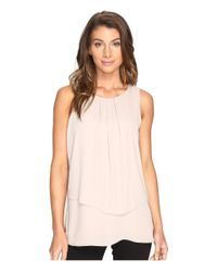 Karen Kane - Natural Front Pleat Asymmetric Top - Lyst
