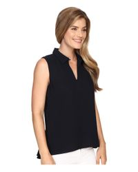Ellen Tracy | Blue Peplum Back Collared Split-neck Shell | Lyst