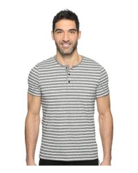 Kenneth Cole - Black Short Sleeve Marled Stripe Henley for Men - Lyst