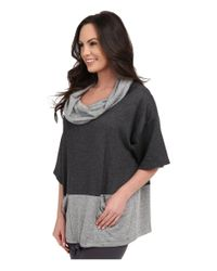 Midnight By Carole Hochman - Gray Lounge Funnel Neck Top - Lyst