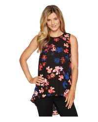 Vince Camuto - Black Sleeveless Ballard Floral High-low Hem Blouse - Lyst