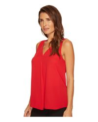 Vince Camuto - Red Sleeveless V-neck Drape Front Blouse - Lyst