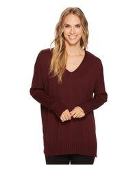 Vince Camuto - Red Drop Shoulder Ribbed Long Sleeve V-neck Sweater - Lyst