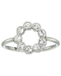 Fossil - Metallic Ring With Circle Of Clear Crystal Glitz - Lyst